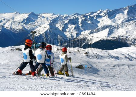 Young Boys Skiing