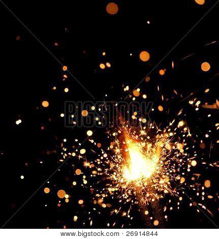 closeup view of burning sparkler