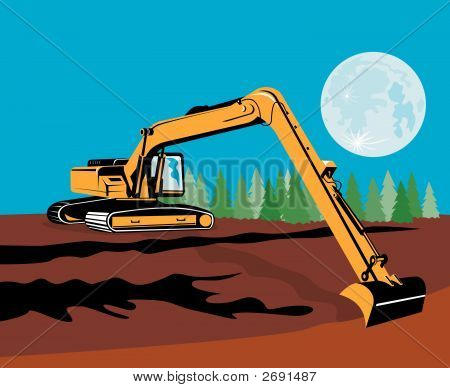 Long Reach Excavator With Moon In The Background