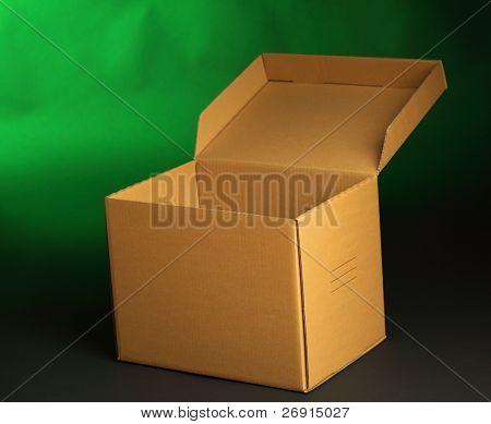 cardboard box on green