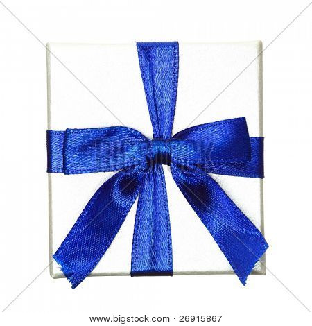 gift with blue bow isolated