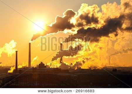 power plant with smoke