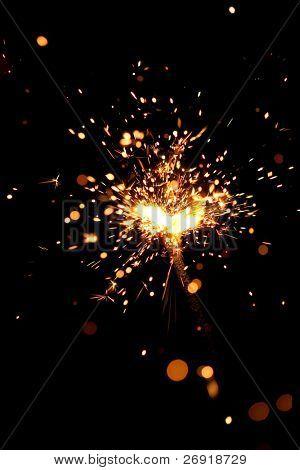 Teilansicht des brennen Wunderkerze