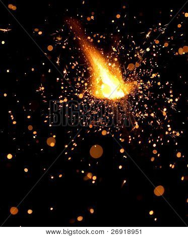 closeup view of burning sparkler