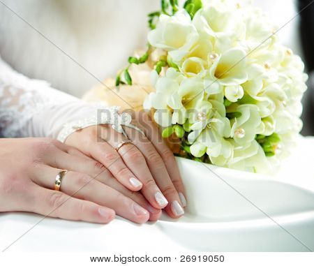 hands of groom and bride