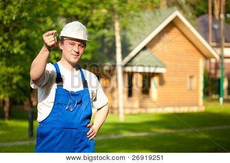 builder manager delivering the house