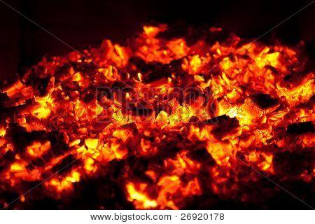 fondo del carbón de leña