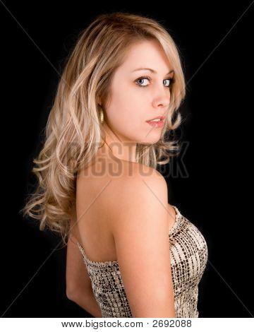 Beautiful Blonde Lady In A Beige Dress