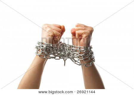 two chained fists, isolated on white background