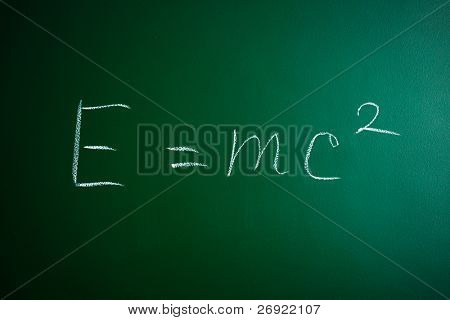 mass-energy equivalence formula on the blackboard