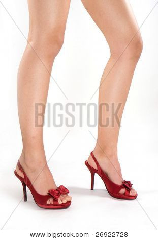 Red high heels isolated against a white background
