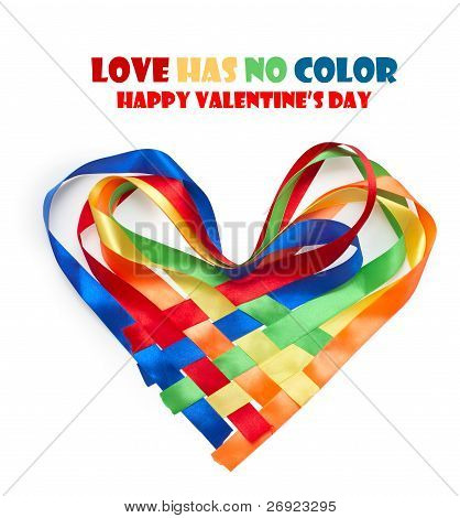 Heart Made Of Intertwined Colored Ribbons. Symbol Of Love And Valentine's Day