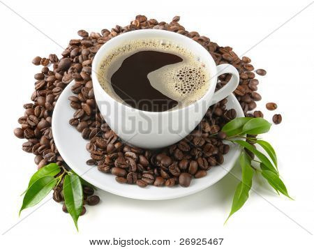 coffee in the cup on the white background