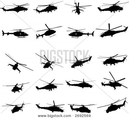 Helicopters Vector Illustration