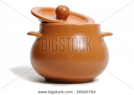 Ceramic pot on the white background