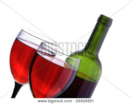 wineglass on the white background