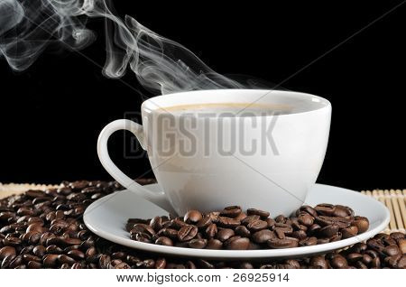 hot coffee on the black background
