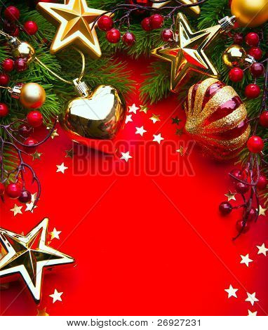 Art Christmas Frame With Christmas Decorations On Red Background