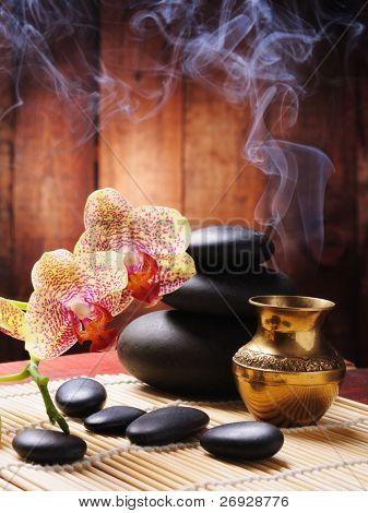 spa concept with orchid and zen stones