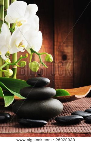 spa concept zen stones and  orchid