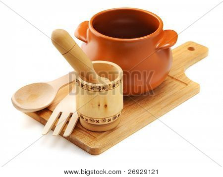 rural cookware composition on the white background