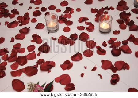 Rose Petal With Two Candles