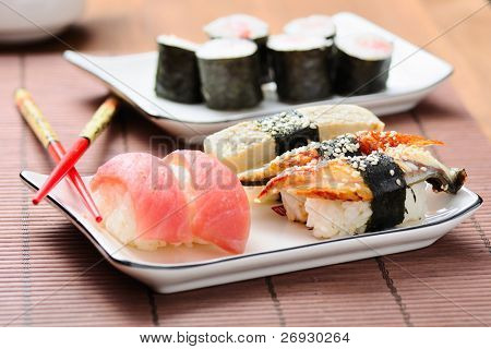 sushi set on the bamboo mat