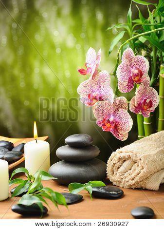zen basalt stones and bamboo on the wood