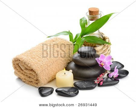 zen basalt stones and orchid on the white