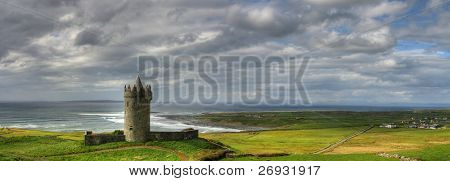 Doonagore castle panoramic in Ireland