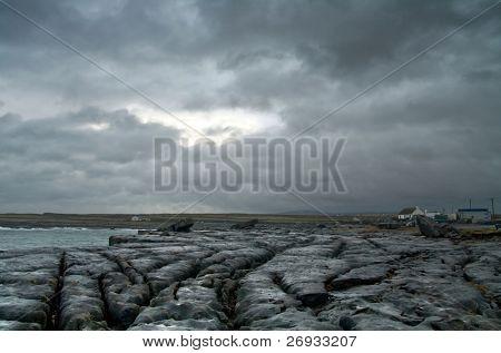 Irish coast in clody day