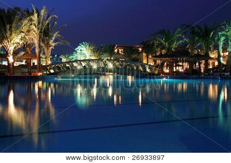 Luxury resort at night