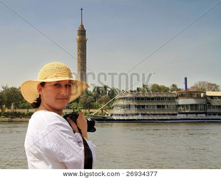 Photographer women on the cruise on Nile - Egypt
