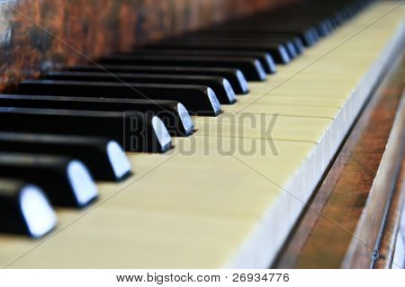 Piano buttons close up