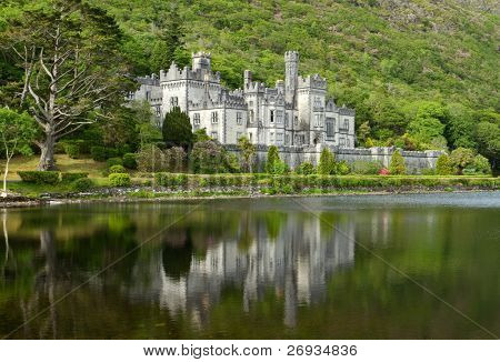 Kylemore Abbey in Connemara mountains - Ireland
