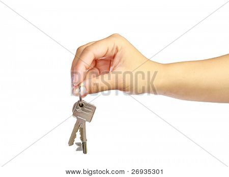 Woman's hand giving keys