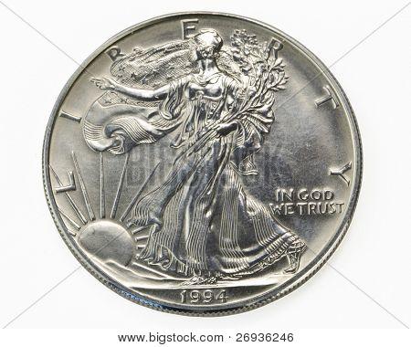 Macro de monedas de un dólar plata
