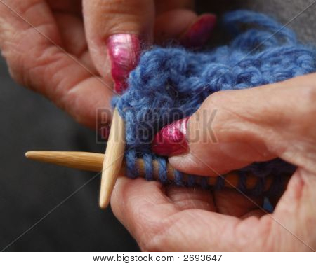 Elderly Hands Knitting