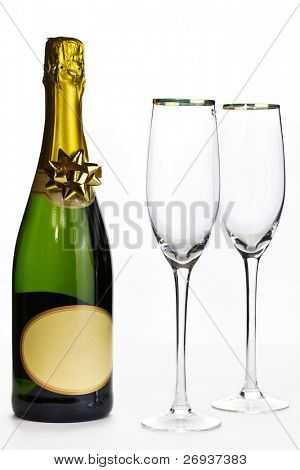 Champagne and glasses ready for celebration