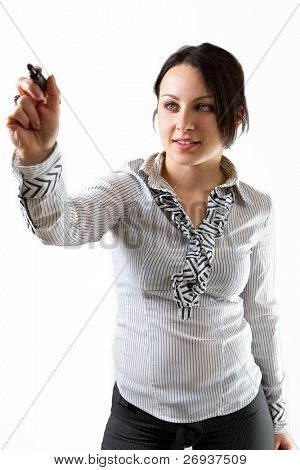 Business woman writing on the screen with black marker