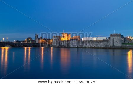 King John castle in Limerick at night - Ireland