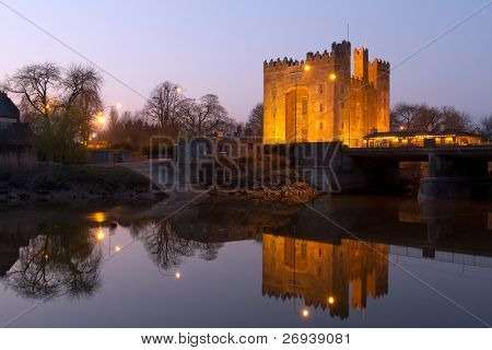 Bunratty castle in west Ireland at dusk