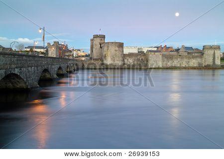 King John castle in Limerick at dusk - Ireland