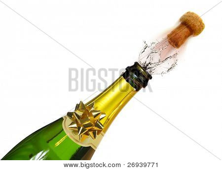 Bottle of champagne with splashes and cork