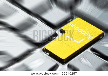 Yellow shopping button on the keyboard