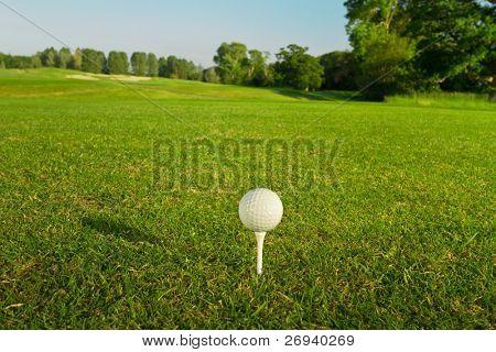 Bola de golfe no t - golfe idílico de Adare