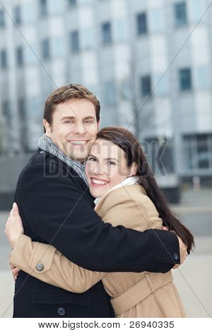Happy Couple In Love Embracing
