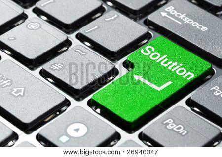 Botón de solución en el teclado del ordenador portátil