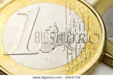 Euro coins macro composition