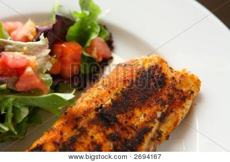 Ganze Saison weiße Fischfilets auf gemischten Salat mit Tomaten
